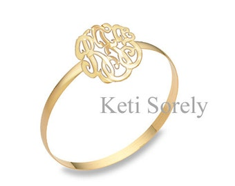 Monogrammed Bangle with Script Name Initials (Order Any Initials) -  24k Gold Overlay