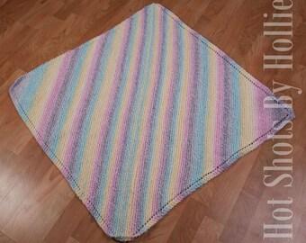 Knit baby blanket - Pretty pastel striped baby blanket - Photo prop Shower gift Baby gift Newborn blanket (BL1)