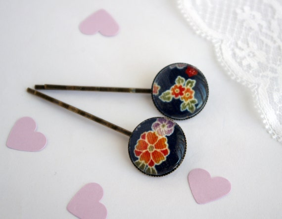 Blue Bobby Pin Japanese flower Hair pin