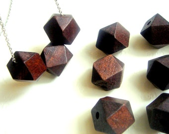Geometric Chocolate  Wood Beads -20mm Big Hole, Geometric Jewelry,Do it Yourself Geometric necklace