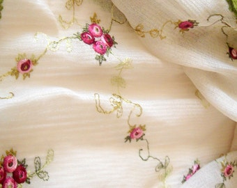 Creamy  Embroidery Stretch Tule,Embroidery Fabric