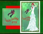 "Happy Holidays 2012- fashion illustration-  5.5""x8"" greeting card"