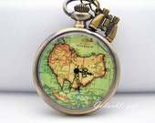 Antique brass Oceania Australia map pocket watch necklace, telescope adventure necklace NWAU01 - Gelivablegift