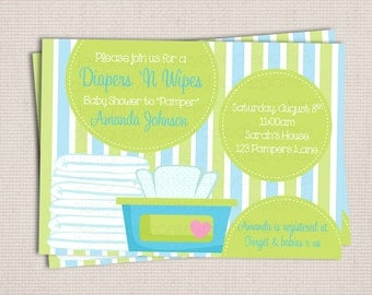 Diaper and Wipe Blue & Green Baby Boy Custom Printable Baby Shower Invitation