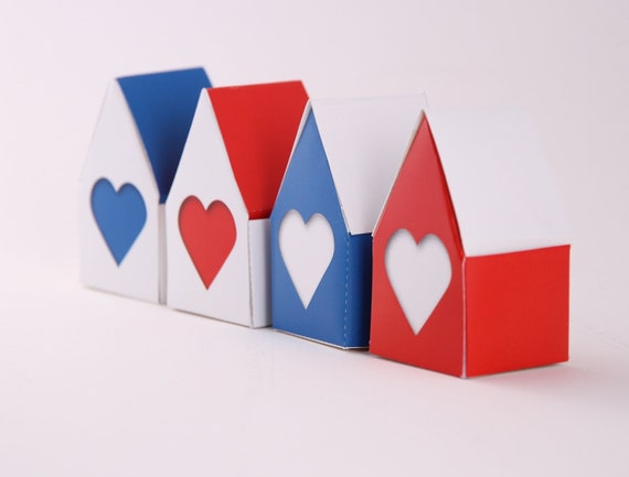 Tiny House Big Heart, Valentines Gift Box, Party Favors, Red, White and Blue, Printable Jewellery  box