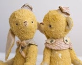 Yellow Bunny Alexander - Stuffed Soft  Toy  - Artist Teddy Bear
