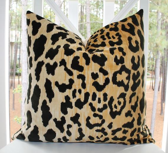 Leopard Pillow - 22 x 22 Leopard Print Velvet Pillow Cover - Animal Throw Pillow