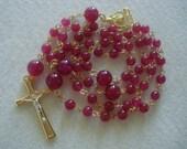 Rosary - Rose / Dark Pink Quartzite Catholic Rosary