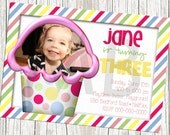 Cupcake Theme Stripes and Polka Dot Photo Birthday Invitation - Pink, Green, Yellow & Blue