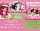 Strawberry Shortcake Birthday Invite/Thank You Card Package - With Photo