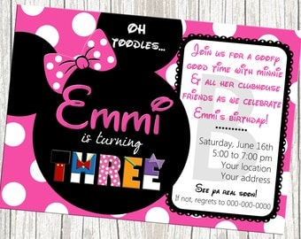 Minnie Mouse Birthday Invitation - Pink and White