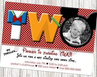 Mickey Mouse Photo Birthday Invitation