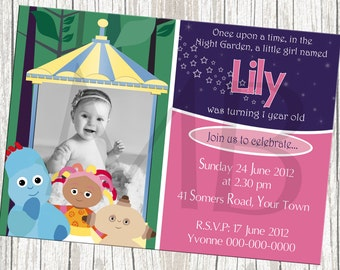 In The Night Garden Birthday Invitation with Photo - For Boy or Girl
