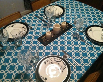 Turquoise Gotcha Tablecloth / Home, Event, Party, Shower, Wedding