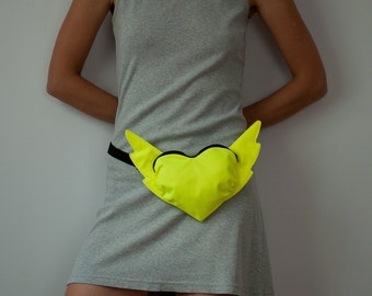 Heart Bag Hip Bag Fluorescent Neon Heart Bag Neon Yellow Belt Bag Street Fashion Festival Flying Heart Bag Small Bag Hipster Winged Heart