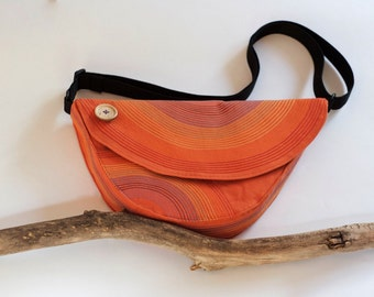 Woodland Bird Bag Orange Messenger Bag Cotton Bag Boho Chic Rainbow Hippie Quilted Bag Whimsical Bag Cute Bag Gift Ideas Hipster Orange Bird