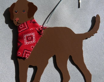 Metal Chocolate Lab Ornament