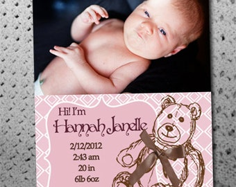Photo Birth Announcements Cards- Custom & Affordable, Digital File or Printed Cards