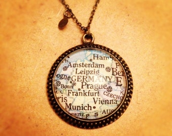 Germany Amsterdam Munich Frankfurt Map Necklace