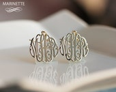 Monogram Earrings in solid 14K Gold - 2 cm - Expedited shipping
