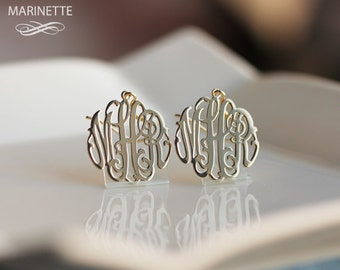 Monogram earrings in 14K gold - Initial earrings - Personalize earrings - Monogram jewelry - Bridesmaid gift - Mother's Day gift