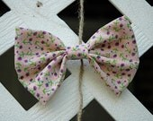 Pink and Lavender Floral Hair Bow Clip