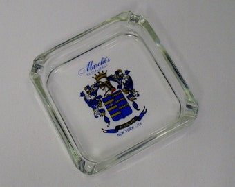 Collectible Glass Ashtray Marchis Italian Restaurant New York, NY