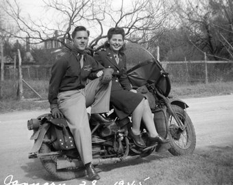 Army Issue Harley Davidson with Love Birds in 1945, Vintage Photo from Original WWII Negative