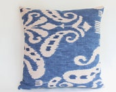 Indigo Blue Ikat Pillow Covers, Two 18x18 PIllow Covers