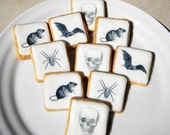 Halloween Black and White Wafer Papers: Skulls, Bats, Rats, Spiders - Edible Images