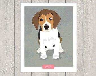 Beagle Art Print -  Dog Art - 8x10