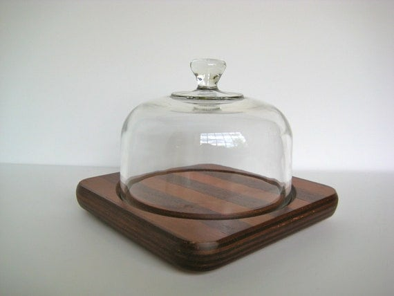 SALE// Vintage cheese board, cloche top, striped wood board
