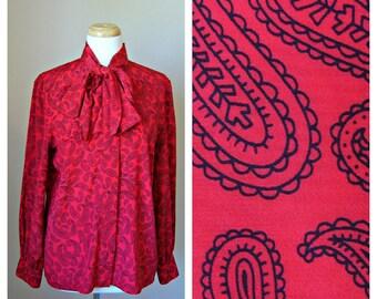 Vintage OLEG CASSINI Red and Black PAISLEY Print Pussy-Bow Blouse Size Medium