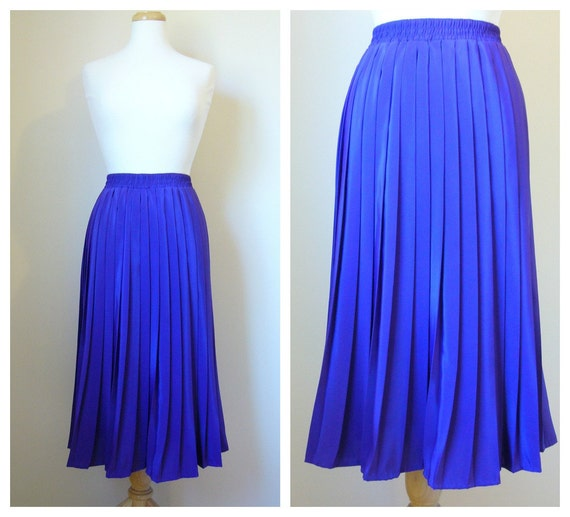 Vintage Bright PURPLE PLEATED Midi Skirt size Medium/Large