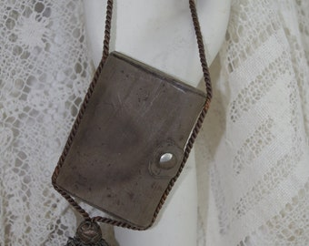 Vintage Purse / Handbag: Brown Doeskin Leather 1920s Flapper Purse or Wallet on a String from Germany