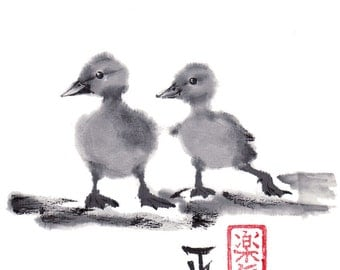 """Print """"Two duckling friends"""" - Sumi-e Japanese art Ink wash painting 8.5x11"""" - Reproduction Art Pet wall decor"""