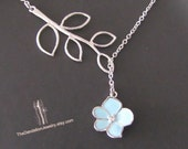 SALE 10% - Branch and blue resin orchid lariat in white gold