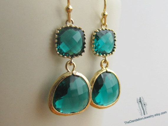 SALE 10% OFF: Emerald glass earrings, dangle earrings, drop earrings, chandelier earrings, gift