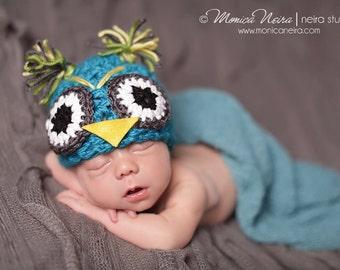Newborn Photo Props//Animal Hats//Owl Baby Hat//Newborn Props//Unisex Hat//Crocheted Baby Hat//Newborn Crochet Hat//Choose your Colors