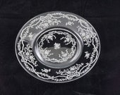 Vintage Fostoria Romance Set of 4 Glass Salad Dessert Plates Bows Ribbons Floral (Set2)