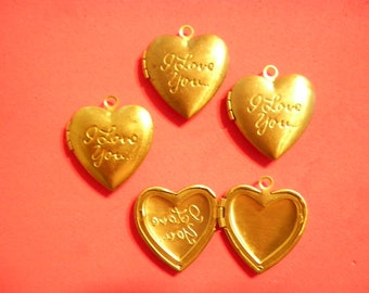 "4 Vintage Brass 26mm ""I Love You"" Heart Lockets"