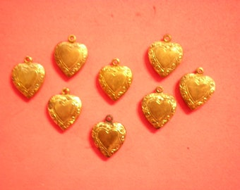 8 Vintage Coppercoated 20mm Puffy Heart Charms