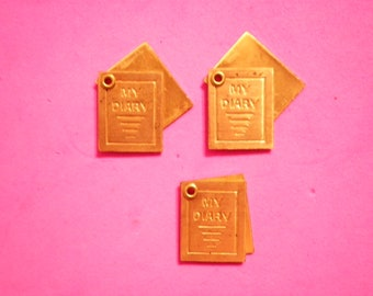 """3 Vintage Brass 17mm Moveable """"My Diary"""" Charms"""
