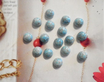 18 Glass 9mm Turquoise Crackle Stones