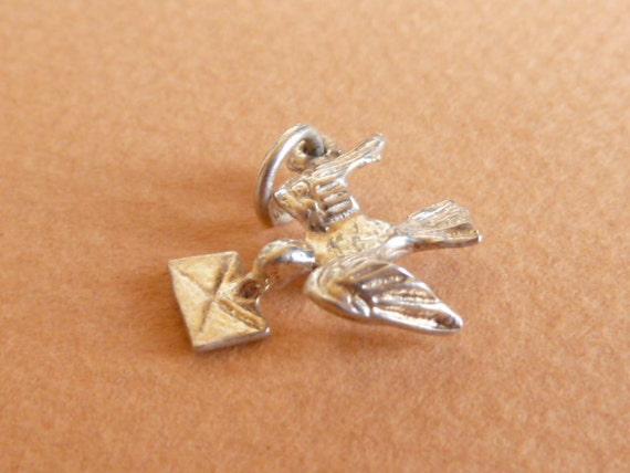 Vintage English sterling silver Bird with a letter  charm   Bracelet charm Pendant