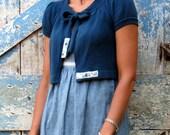 French Country Shrug / upcycled blue shrug / eco sweater cardigan