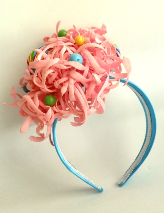 Curly Pink Flower Lollipop and Gumball Headband Fascinator