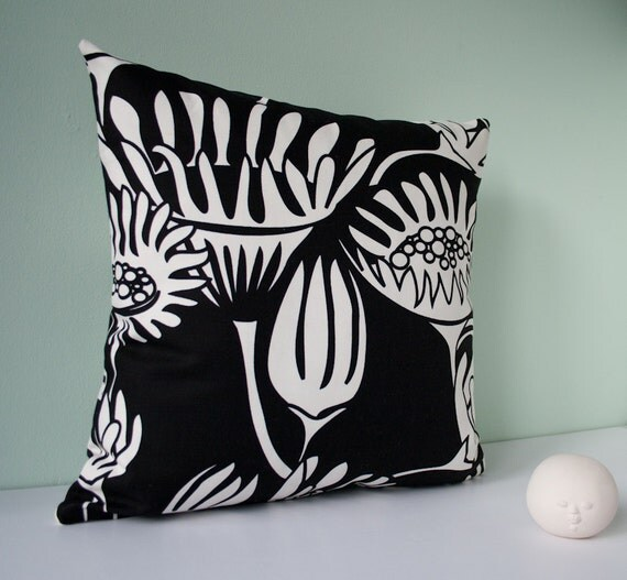 Decorative black and white pillow cover / pillowcase /  accent pillow cover / cushion cover  - modern flowers 20 x 20 inches