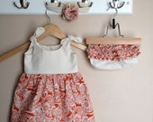 RESERVED for Rachel - Baby Dress with Bloomers - Turtles in Pink and Green