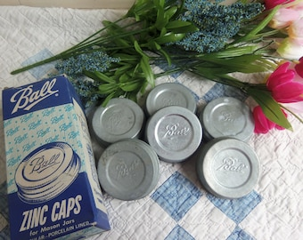 6 Vintage Zinc Canning Jar Lids Standard Mouth Size Ball Brand with White Porcelain Liners BOX INCLUDED  b908